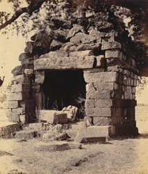 General view of the ruins of a small laterite temple, Deotek, Chandrapur District